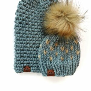 Mommy & Me Simple Slouch + Happe Hearts Hat | Succulent