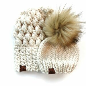 Mommy & Me Hats Puff Stitch Slouch + Happe Heart | Off White