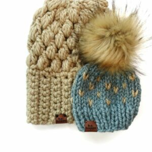 Mommy & Me Hats Puff Stitch Slouch + Happe Heart | Peanut