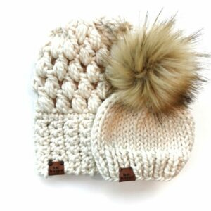 Mommy & Me Hats Puff Stitch Slouch + Solid | Off White
