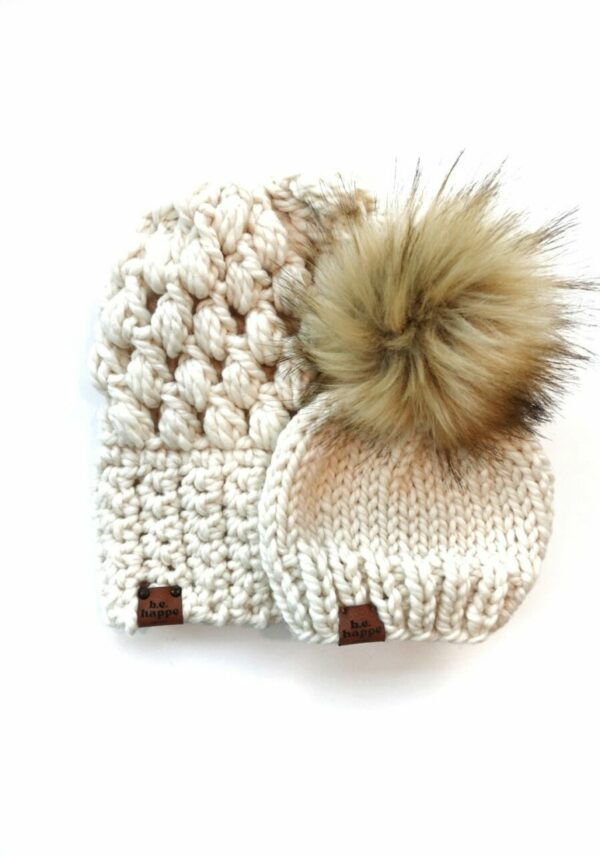 Mommy & Me Hats Puff Stitch Slouch + Solid   Off White
