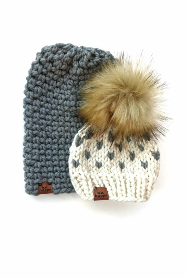 Mommy & Me Simple Slouch + Happe Heart Hat | Slate