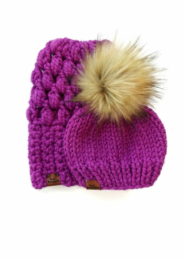 Mommy & Me Hats Puff Stitch Slouch + Solid   Lollipop