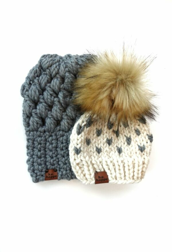 Mommy & Me Hats Puff Stitch Slouch + Happe Heart | Slate