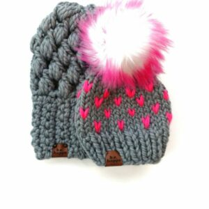 Mommy & Me Hats Puff Stitch Slouch + Happe Heart | Slate + Hot Pink