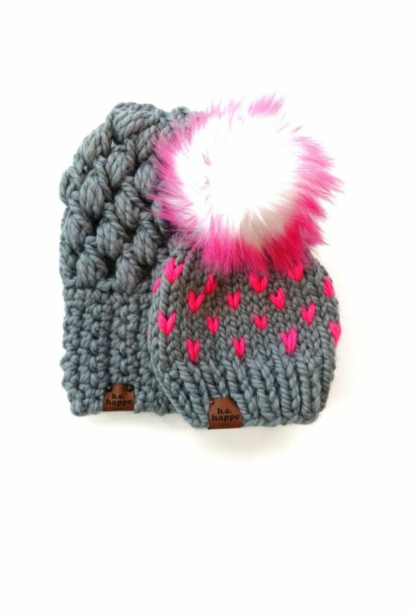 Mommy & Me Hats Puff Stitch Slouch + Happe Heart   Slate + Hot Pink