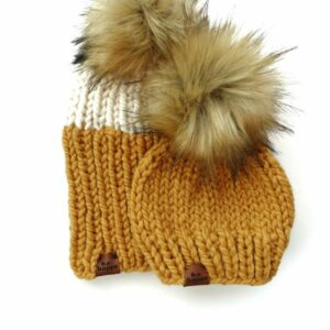 Mommy & Me Two Tone Ribbed Hat + Solid | Mustard