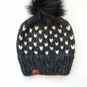 Happe Hearts Hat | Charcoal + Off White
