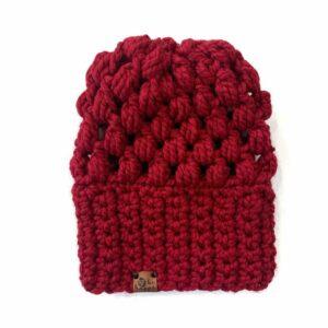 Puff Stitch Slouch Hat | Cranberry