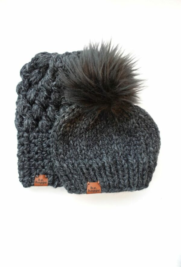 Mommy & Me Hats Puff Stitch Slouch + Solid | Charcoal