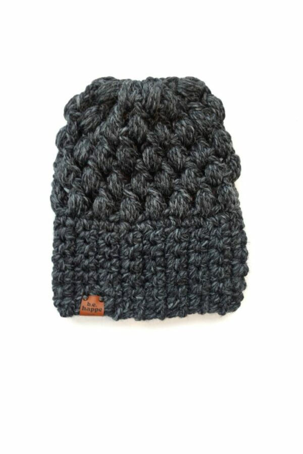 Puff Stitch Slouch Hat   Charcoal
