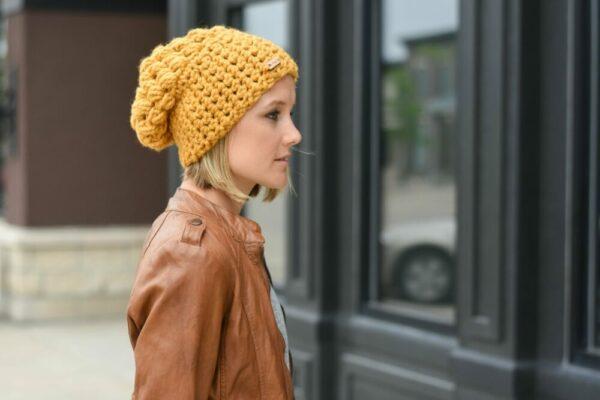 Puff Stitch Slouch Hat   Mustard