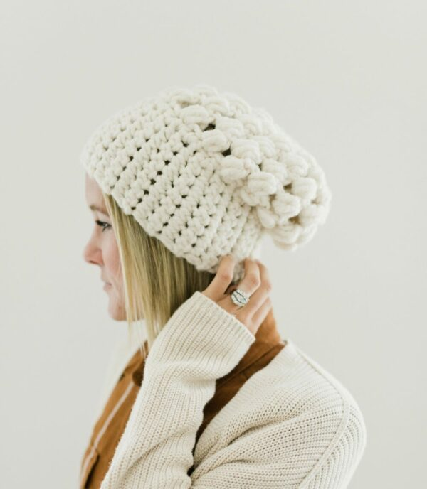 Puff Stitch Slouch Hat | Off White