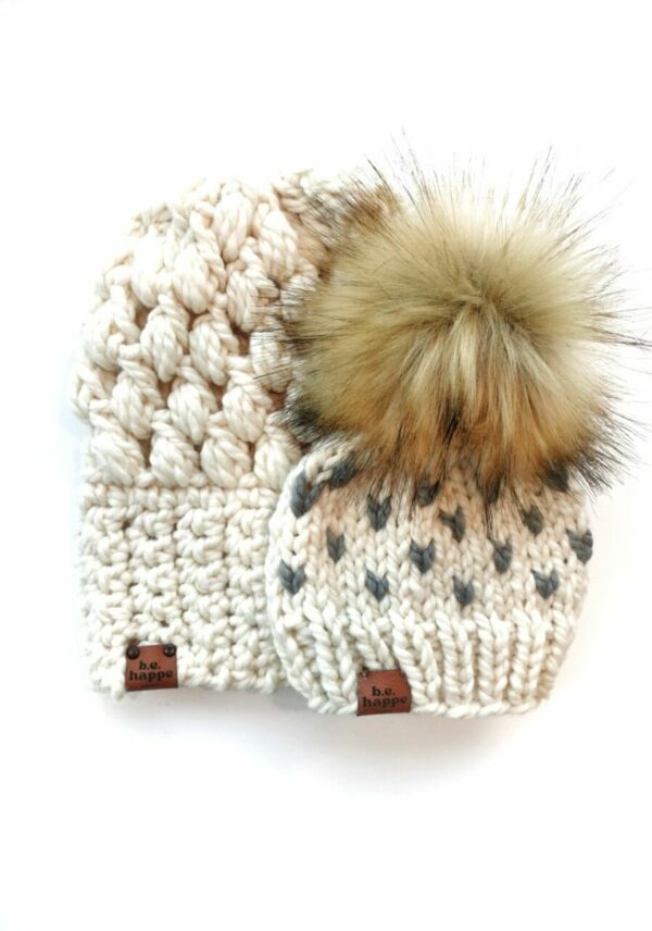 Mommy & Me Hats Puff Stitch Slouch + Happe Heart   Off White