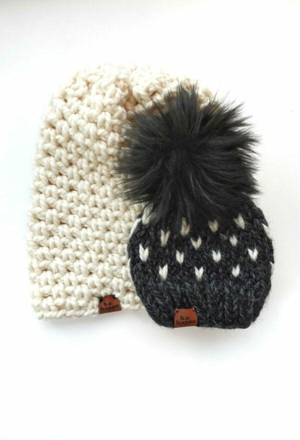 Mommy & Me Simple Slouch + Happe Heart Hat   Charcoal