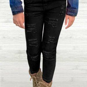 ever cool black distressed jean