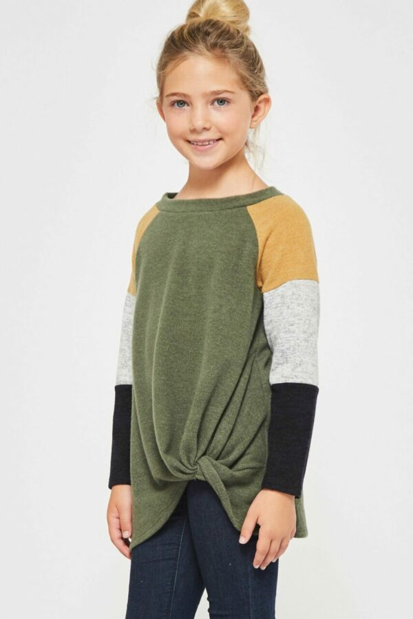 olive color block knot top