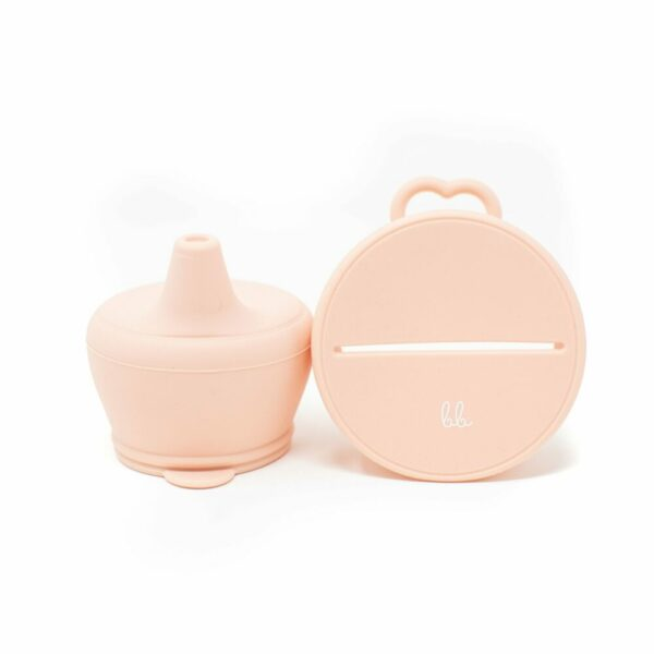 Baby Bar & Co Silicone Snack & Sippy Lids Set Dusty Pink