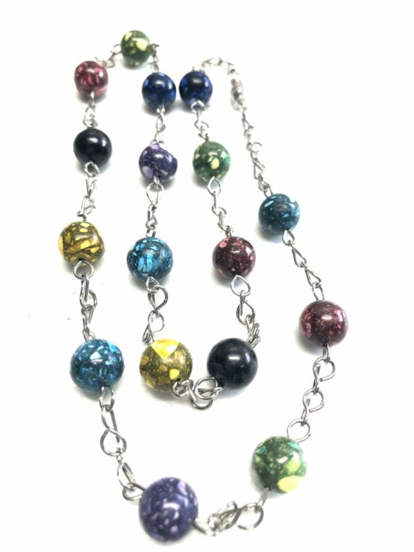 Handmade multi color necklace with case