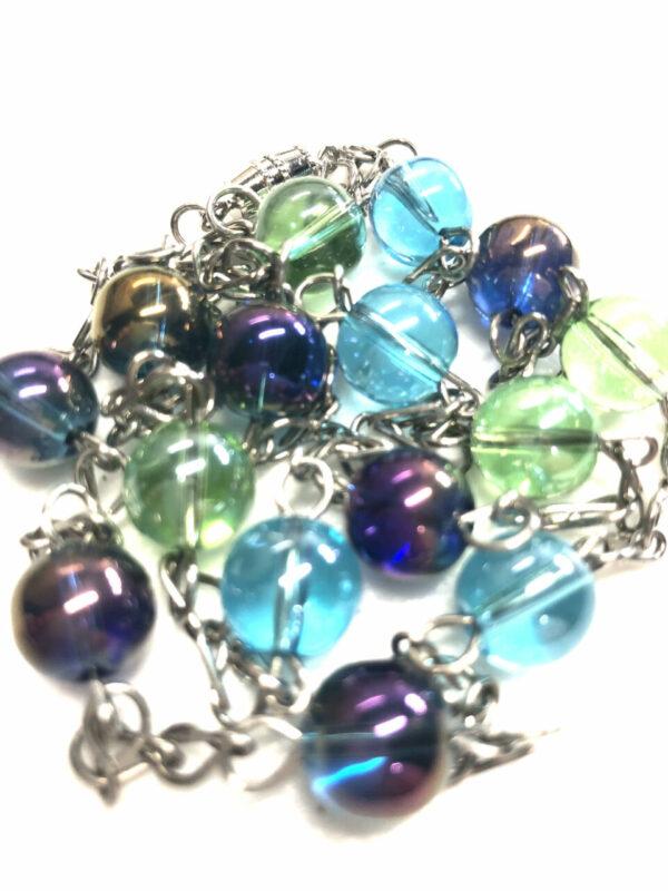 Handmade purple, green & blue women's necklace