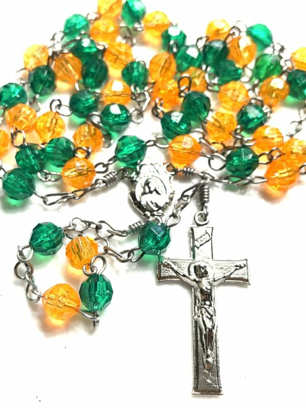 Handmade orange and green acrylic rosary