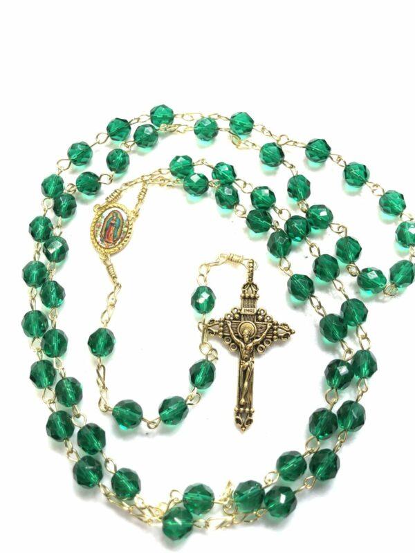 Handmade emerald green glass beaded rosary