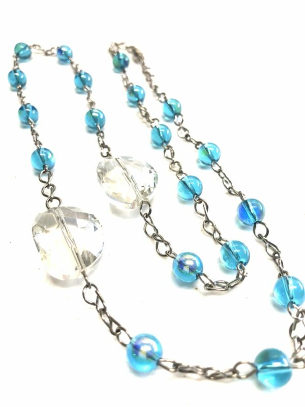 Handmade turquoise & crystal women's necklace with case