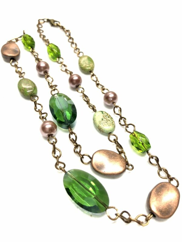 Handmade green & brown women's necklace with case