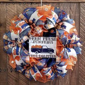 Farmhouse Farm Fresh Pumpkins Wreath