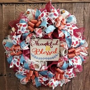 Fall Thankful & Blessed Burgundy Front Door Wreath