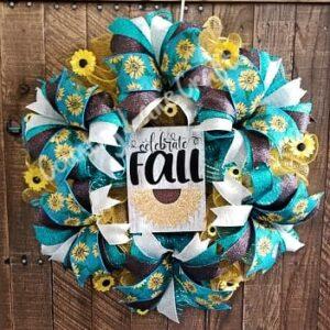 Fall Sunflower Turquoise Front Door Wreath