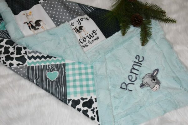 Personalized country cow baby girl or boy blanket