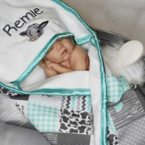 Personalized Teal Hooded Baby Towel with Calf