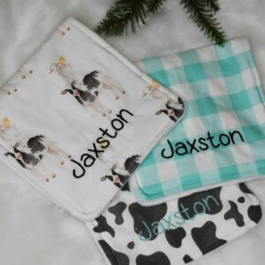 Personalized Country cow baby burp cloth set