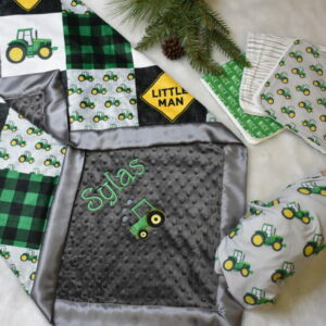 Personalized tractor farm country baby blanket