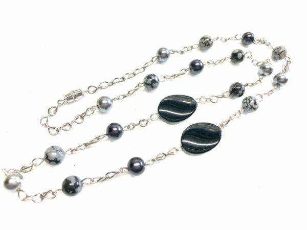 Handmade black & grey (silver) women's necklace