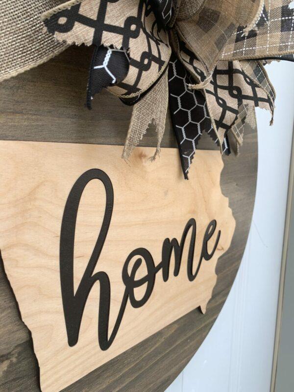 Rustic Home Iowa Front Door Sign