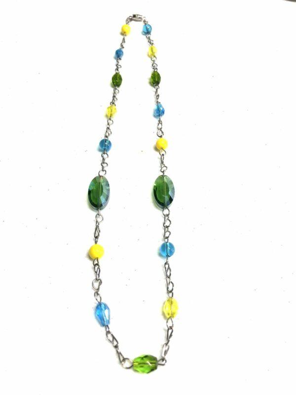 Handmade turquoise, green & yellow women's necklace