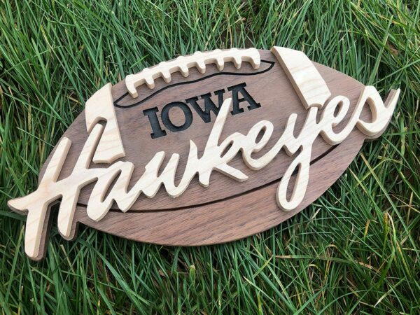 Wood Football Sign with Team Name