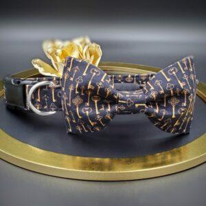 Skeleton Key Steampunk Dog Collar with Bow Tie