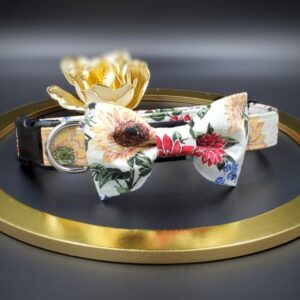 Sunflowers and Mums Fall Dog Collar with Bow Tie