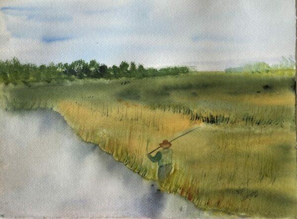 """""""Gone Fishin'"""" Original Watercolor Painting"""