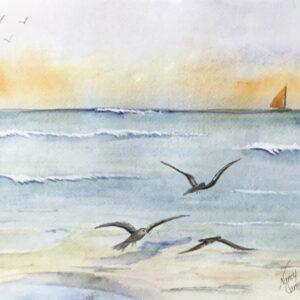 """""""Beach Runway"""" Original Watercolor Painting"""