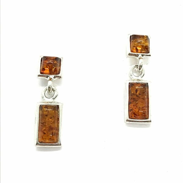 Cognac amber and sterling silver post earrings with rectangle dangle