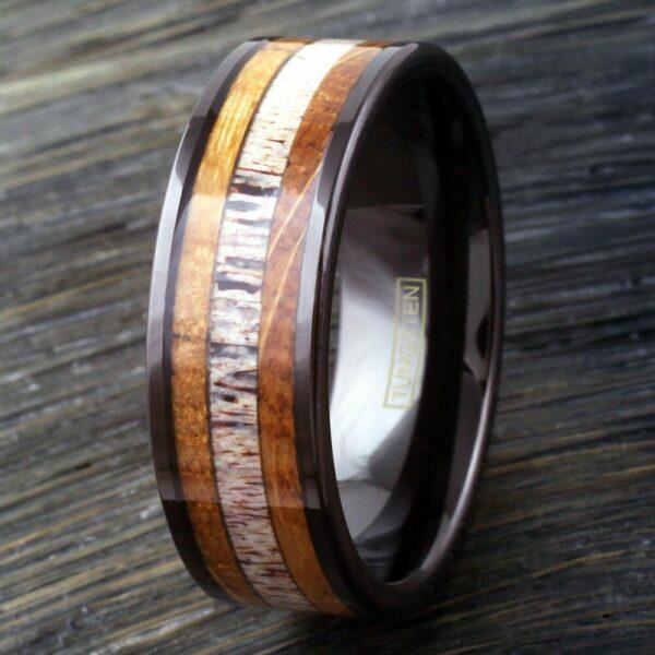 Black Tungsten Ring with Deer Antler between Whiskey Barrel Oak Wood Inlays, Size 11