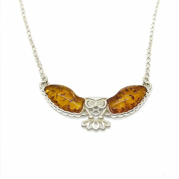 Owl necklace with Cognac colored Baltic Amber wings