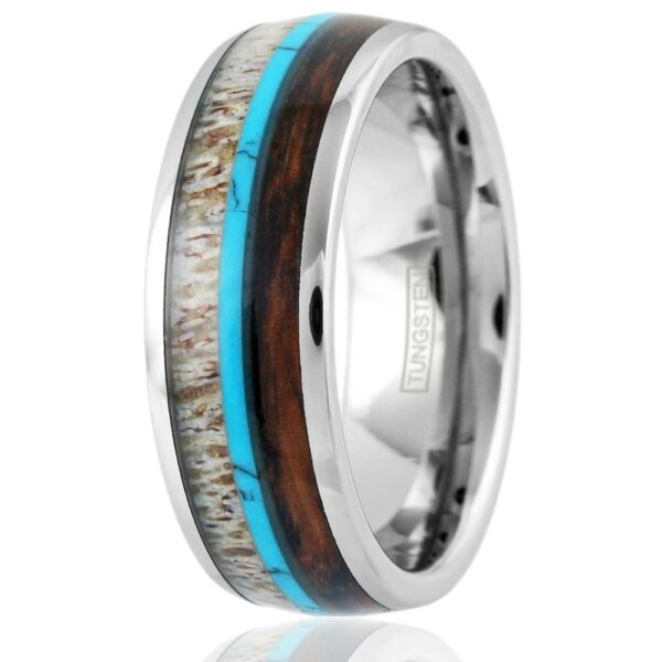 Tungsten Ring with Deer Antler, turquoise, and koa wood inlay, Size 12