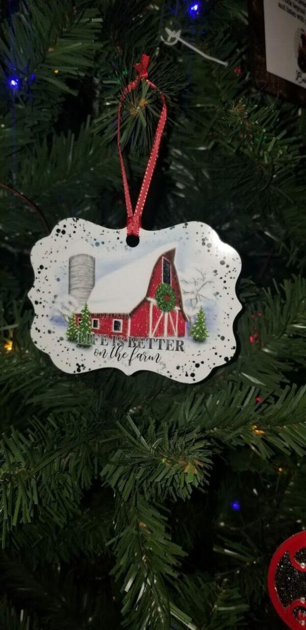 Faux Enamel Farmhouse Ornament