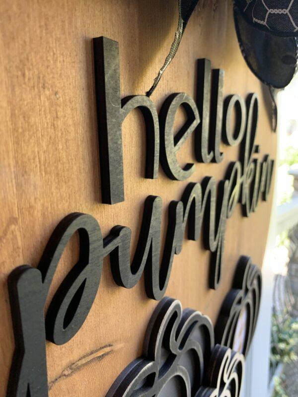 Hello Pumpkin Rustic Entryway Sign