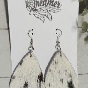 Black and White Roan Cowhide Earrings